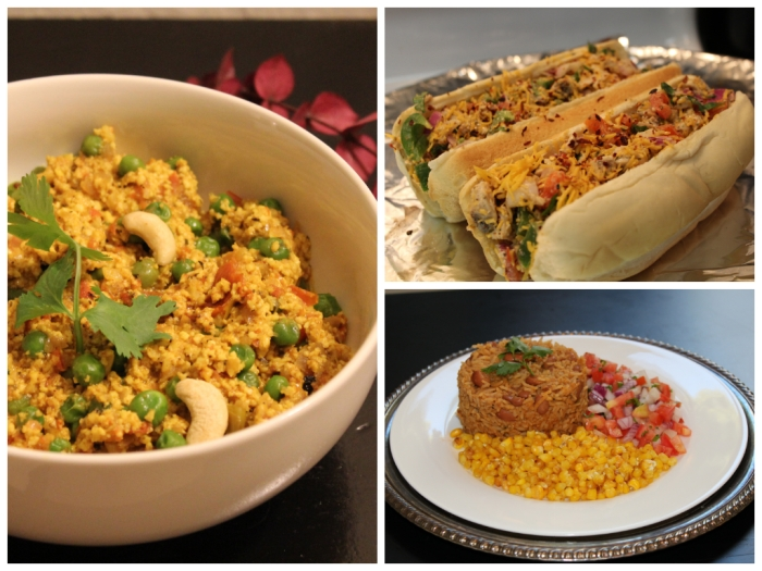 Picture collage Paneer Bhurji | Grilled Chicken Sandwich | Indian Food Recipes | Mexican Food by The Savorist